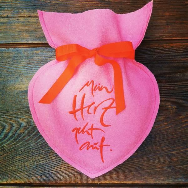 """Herz-Wärmflasche """"Mein Herz geht auf"""" Pink"""