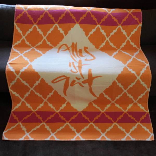 "Decke Jacquard ""Alles ist gut"" Orange"