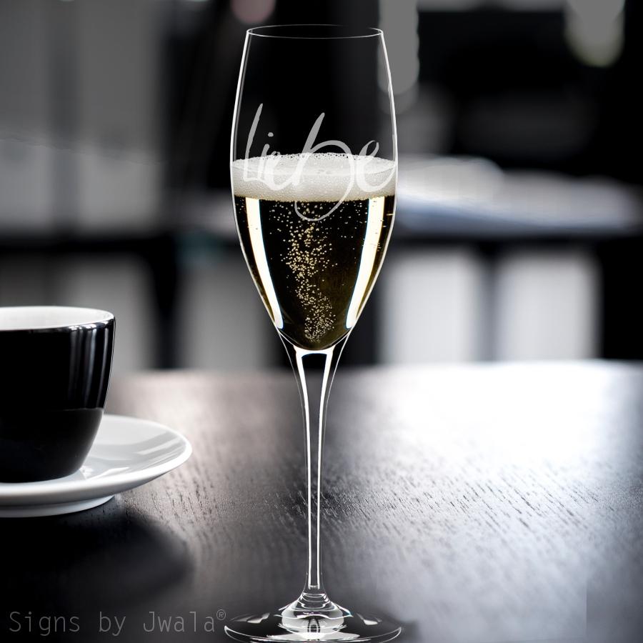 champagner glas liebe champagner gl ser tisch deko wohnen mit signs sign shop. Black Bedroom Furniture Sets. Home Design Ideas
