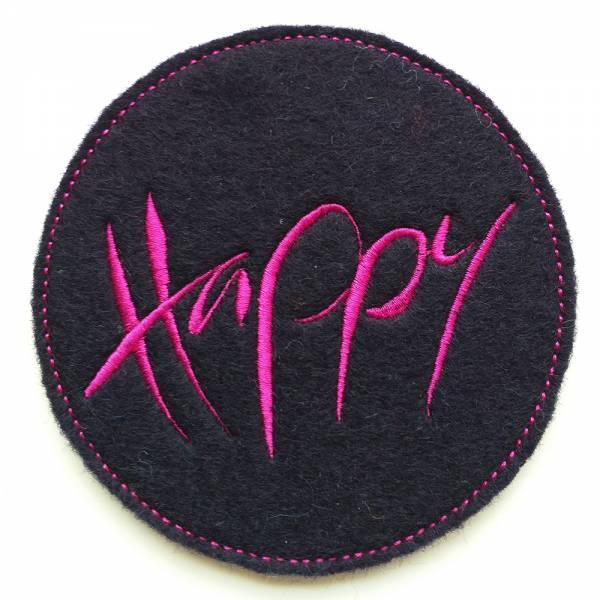 """Glasuntersetzer """"Happy"""" Nachtblau/Pink"""