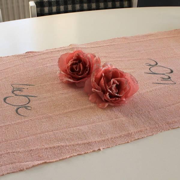 """Tischläufer """"Liebe"""" Rosé"""